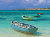 Small Fishing Boats in the Turquoise Sea, Mauritius, Indian Ocean, Africa Fotografisk tryk