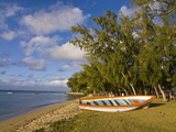 Fishing Boat on the Beach of Anse Aux Anglais in the Island of Rodrigues, Mauritius Photographic Print