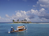 Couple Ariving at the Four Seasons Spa in the Maldives, Indian Ocean, Asia Photographic Print