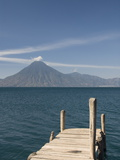 A Jetty in Panajachel, San Pedro Volcano in the Background, Lake Atitlan, Guatemala Photographic Print
