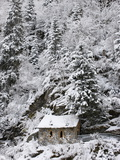 Snowed Covered Notre-Dame De La Gorge Chapel, Les Contamines, Haute-Savoie, France, Europe Photographic Print
