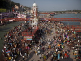 Holy Ghat of Har Ki Pauri in Haridwar During Kumbh Mela in 2010, Haridwar, Uttarkhand, India, Asia Photographic Print