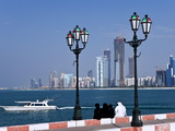 City Skyline and the Famous Corniche Looking Across the Harbour From a Pier, Abu Dhabi Photographic Print