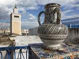Minaret of the Great Mosque (Jamaa El Zitouna ) and Local Pottery, Medina, Tunis, Tunisia Photographic Print by Dallas & John Heaton