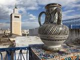 Minaret of the Great Mosque (Jamaa El Zitouna ) and Local Pottery, Medina, Tunis, Tunisia Photographic Print by Dallas & John Heaton