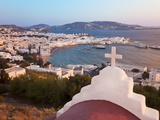 Elevated View Over the Harbour and Old Town, Mykonos (Hora), Cyclades Islands, Greece Photographic Print by Gavin Hellier
