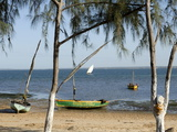 Dhows and Beach, Opposite Mozambique Island, Mozambique, Africa Fotografisk tryk