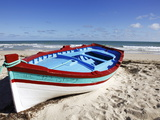 Small Boat on Tourist Beach the Mediterranean Sea, Djerba Island, Tunisia, North Africa, Africa Fotografisk tryk af Dallas & John Heaton