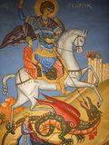 Icon Depicting St. George Slaying a Dragon in St. George's Orthodox Church, Madaba, Jordan Photographic Print