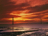 Forth Road Bridge at Sunset, Crossing Firth Between Queensferry and Inverkeithing Near Edinburgh Photographic Print
