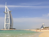 Burj Al Arab and Jumeirah Beach Hotels, Jumeirah Beach, Dubai, United Arab Emirates, Middle East Photographic Print by Amanda Hall