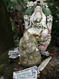 Money Offering and Statues in the Garden of Buddhapadipa Temple, Wimbledon, London, England, Uk Photographic Print