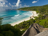 View Over the Beach of Grand Anse, La Digue, Seychelles, Indian Ocean, Africa Fotografisk tryk