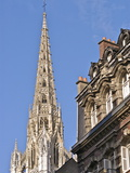 Steeple of the 12Th Century Notre Dame Cathedral, and Houses, Old Town, Rouen, Normandy, France Photographic Print