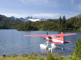 Float Plane Parked at Lake Side, Shrode Lake, Prince William Sound, Alaska, USA Photographic Print