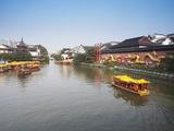 Tourists Boats on Canal, Fuzi Miao Area, Nanjing, Jiangsu, China, Asia Photographic Print by Ian Trower