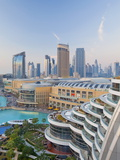 Dubai Skyline, Elevated View Over the Dubai Mall and Burj Khalifa Park, Dubai Photographic Print