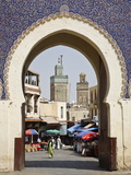 City Gate of Bab Boujeloud (Blue Gate), Medina, Fez (Fes), Morocco, North Africa, Africa Fotografisk tryk