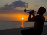 Trumpet Player at Sunset, Playa Ancon, Trinidad, Cuba, West Indies, Caribbean, Central America Photographic Print