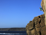 A Climber Tackles a Difficult Route on the Cliffs Near Sennen Cove, Cornwall, England Photographic Print by David Pickford