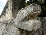 Massive Stone Carving of Snake Head, Chichen Itza, Yucatan, Mexico, North America Photographic Print by Balan Madhavan