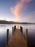 Jetty and Derwentwater at Sunset, Near Keswick, Lake District National Park, Cumbria, England, Uk Photographic Print by Lee Frost