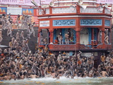 Sadhus at a Royal Bath (Sahi Snan) During Kumbh Mela in Haridwar, Uttar Pradesh, India, Asia Photographic Print