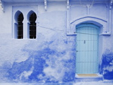 Blue Wall, Doorway and Window, Chefchaouen, Morocco, North Africa, Africa Fotografisk tryk