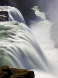 Waters of Gullfoss, Europe's Biggest Waterfall, Thundering Into a Deep Ravine, Iceland Photographic Print