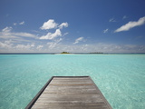 Wooden Jetty and Tropical Sea, View From Island, Maldives, Indian Ocean, Asia&No.10; Photographic Print by Sakis Papadopoulos