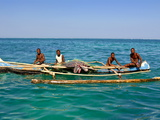 Traditional Rowing Boat in the Turquoise Water of the Indian Ocean, Madagascar, Africa Photographic Print
