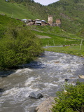 Little River Running Below a Fortified Mountain Village, Svanetia, Georgia, Caucasus, Central Asia Photographic Print