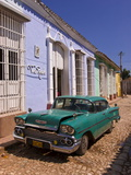 American Oldtimer in the Cobbled Streets of Trinidad, Cuba, West Indies, Caribbean, Central America Photographic Print
