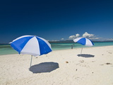 Parasols at the Beautiful Beach in Nosy Iranja, a Little Island Near Nosy Be, Madagascar Photographic Print