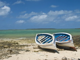 Fishing Boats on the Island of Rodrigues, Mauritius, Indian Ocean, Africa Stampa fotografica