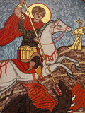 Mosaic of St. George Slaying the Dragon in St. George Coptic Orthodox Church, Cairo, Egypt Photographic Print