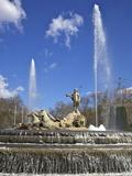 Neptune Fountain, Canovas Del Castillo Square, Paseo Del Prado, Madrid, Spain, Europe Photographic Print