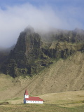 Icelandic Church Dwarfed By Mountains Rising Into Mist, Vik I Myrdal, South Iceland, Iceland Photographic Print