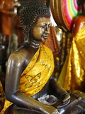 Buddha Statue With Offerings at Wat Phnom Temple, Phnom Penh, Cambodia, Indochina, Photographic Print