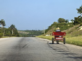 Man Driving Horse and Cart on a Wide Deserted Country Road, Cuba, West Indies, Central America Photographic Print