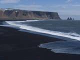 Black Volcanic Sand Beach, Dyrholaey, Near Vik, Iceland, Polar Regions Photographic Print