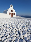 Church Overlooking Aegean Sea in the Village of Oia, Santorini (Thira), Cyclades Islands, Greece Photographic Print by Gavin Hellier