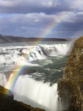Gullfoss, Europe's Biggest Waterfall, With Rainbow Created From the Falls, Near Reykjavik, Iceland Photographic Print