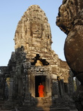 Monk at the Bayon Temple, Angkor Thom Complex, Angkor, UNESCO World Heritage Site, Cambodia Photographic Print