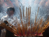 Burning Incense During Tet, Vietnamese Lunar New Year Celebration, Quan Am Pagoda, Ho Chi Minh City Photographic Print