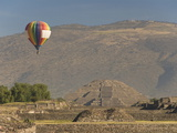 Hot Air Balloon With Pyramid of the Moon in Background, Archaeological Zone of Teotihuacan, Mexico Photographic Print