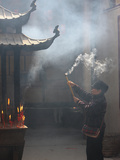 Worshipper, Kun Iam Temple, Macau, China, Asia Photographic Print