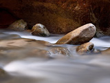 Round Rocks in the Virgin River Near the Narrows, Zion National Park, Utah, USA Photographic Print by James Hager