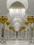 Gilded Columns Lead to the Main Prayer Hall of Sheikh Zayed Bin Sultan Al Nahyan Mosque, Abu Dhabi Photographic Print