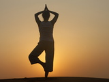 Sunset Meditation in the Desert, Abu Dhabi, United Arab Emirates, Middle East Photographic Print